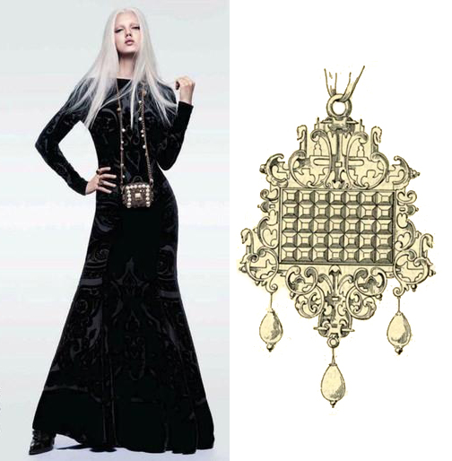 Minimal Baroque (Vogue China, 2012) paired with a pendant design by Daniel Mignot.