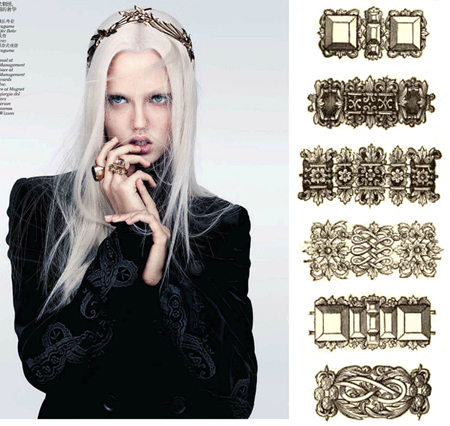 Minimal Baroque (Vogue China, 2012) paired with baroque chain designs from L Egare.